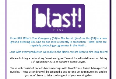 Call all Series Producers, Producer/Directors, DV directors, Assistant Producers and Researchers based in the NW or Yorkshire @MediaCityUK @BlastFilms